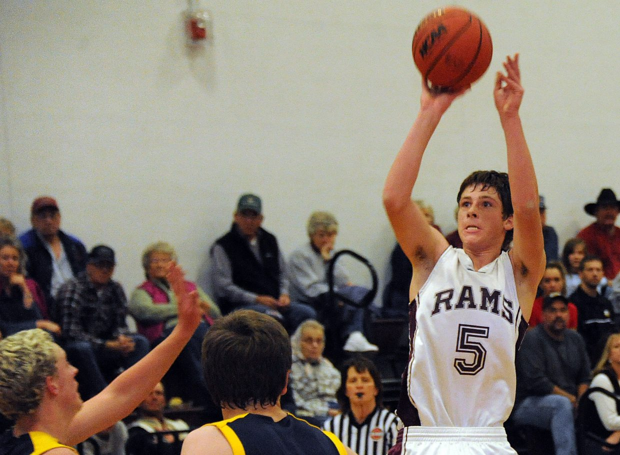 Soroco's Matthew Regan pulls up for a shot Thursday as the Rams routed North Park. Regan made five 3-point shots in the game. Teammate Nic Paxton sank four, and Charley Fitzhugh made three.