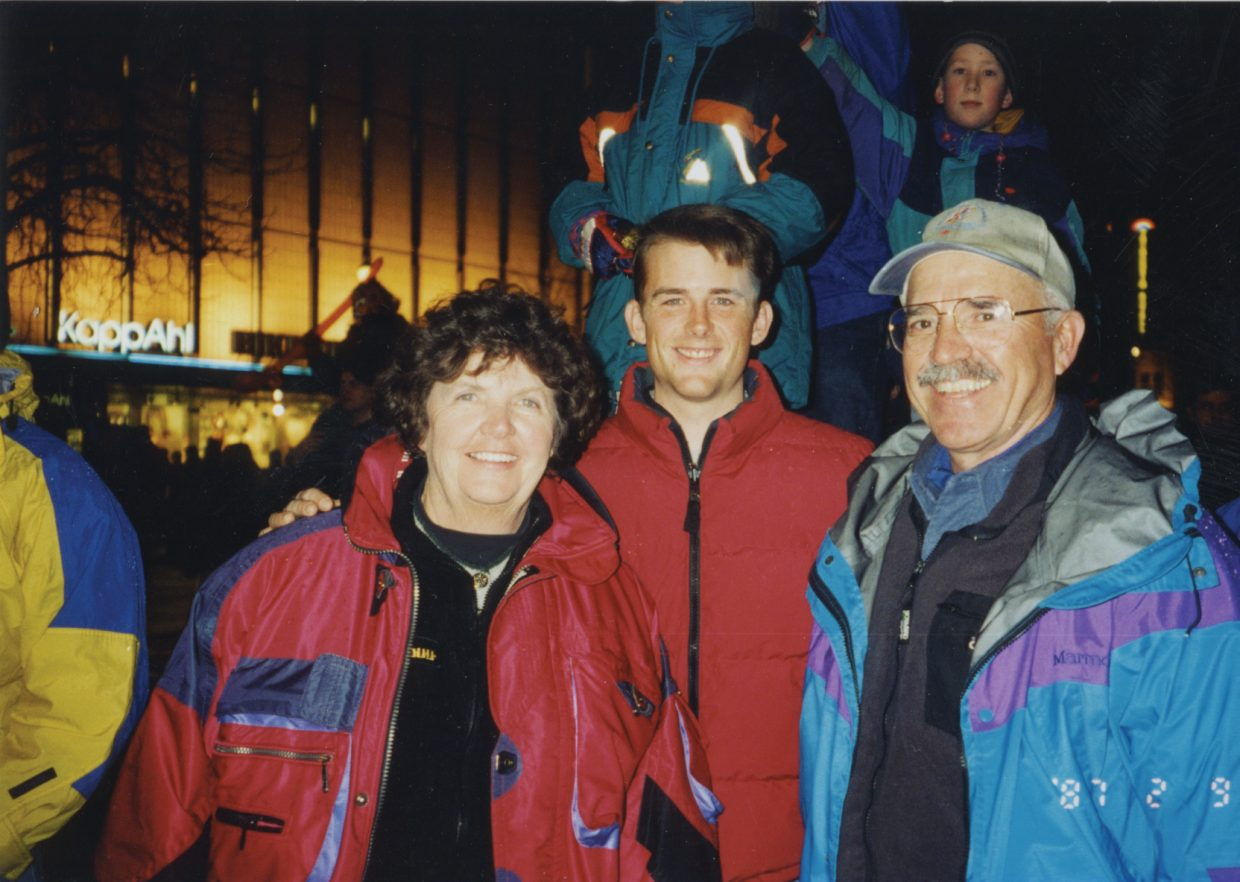 Ryan Heckman, center, stands with Ed and Jayne Hill in Trondheim, Norway, during the World Championships in 1997.