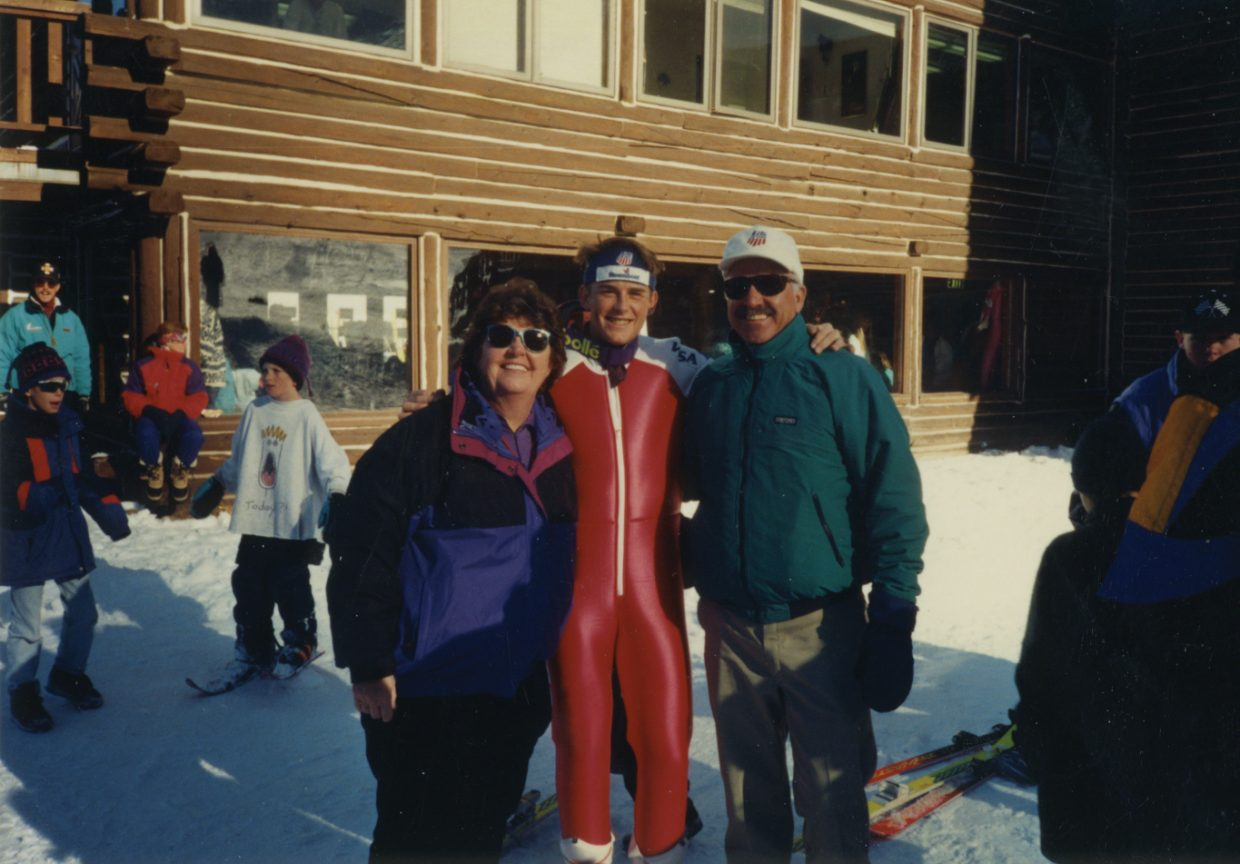 Ryan Heckman, center, stands with Ed and Jayne Hill at Howelsen Hill in the early 1990s. The Hills allowed Heckman to live with them rent free for six years while he strived to become the youngest member of the 1992 U.S. Olympic Ski Team.