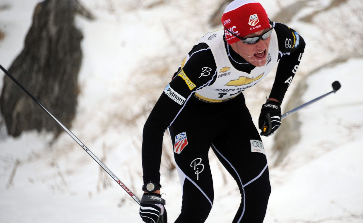 Aleck Gantick works toward the finish line of Saturday's Nordic combined event in Steamboat Springs.