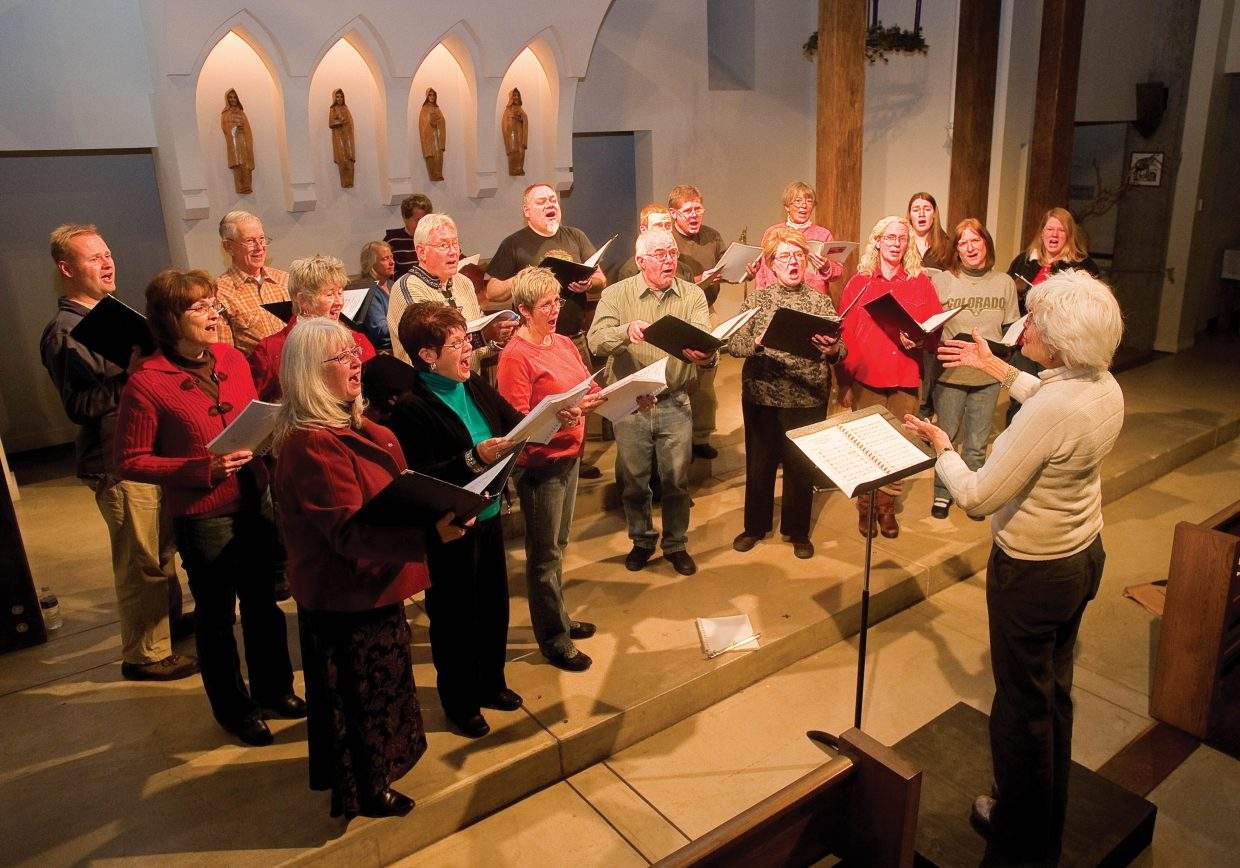 The Steamboat Chamber Singers, led by director Marie Carmichael, rehearse their performance Wednesday evening at the St. Paul's Episcopal Church. The group will perform at 7 p.m. Saturday and 3 p.m. Sunday at the church.