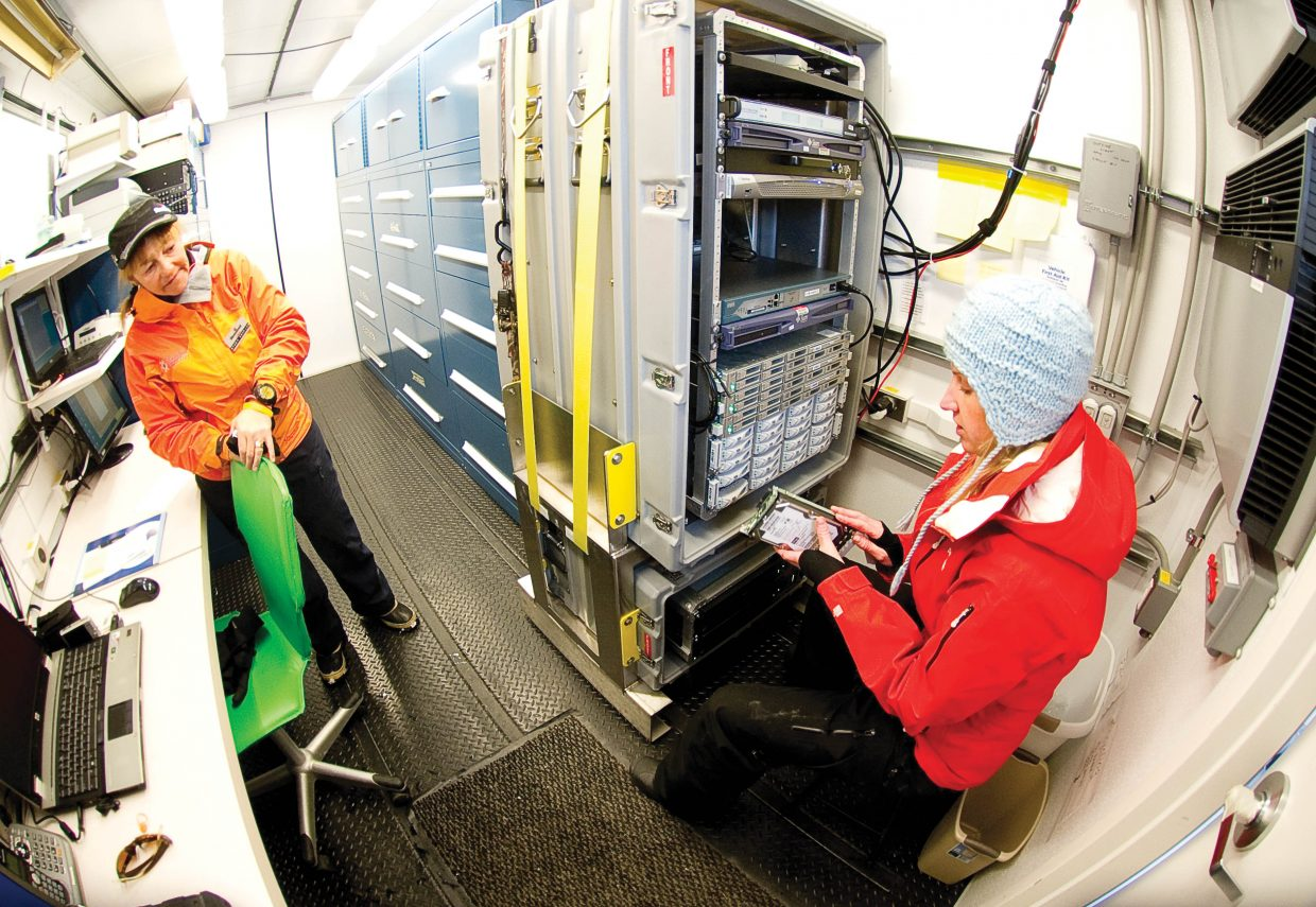 Scientist Nicki Hickmon and volunteer Linda Danter check to make sure equipment is working properly inside a small trailer located near Yampa Valley Medical Center in Steamboat Springs.