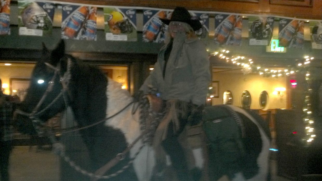 A person on horseback rode into the Old Town Pub on Sunday night. Steamboat Springs Police Department officers caught up with the three people at the Depot Art Center and arrested a man after police said he became physically combative.