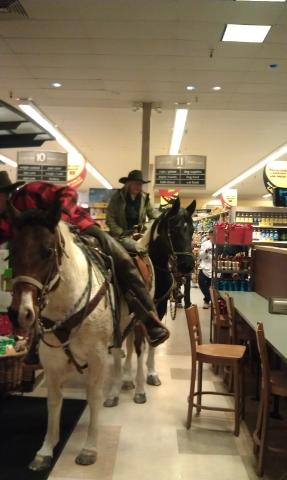 People on horseback rode into Safeway store in Steamboat Springs on Sunday.