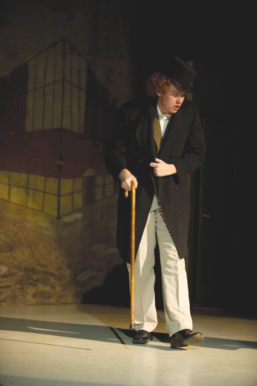"Jake Rosendale portrays Ebenezer Scrooge in Hayden Secondary Schools' presentation of ""A Christmas Carol."""