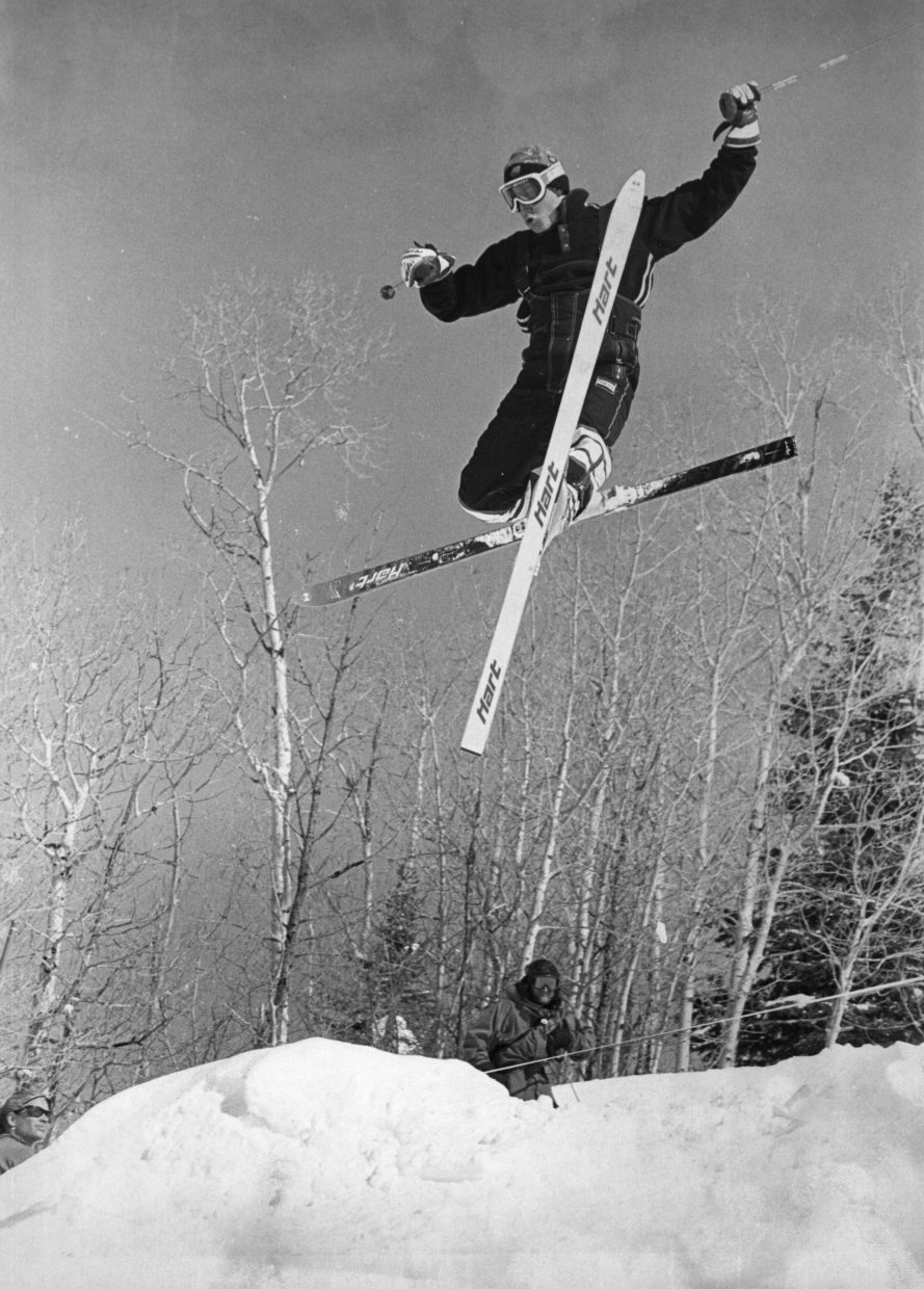 Former U.S. Freestyle Ski Team member Jonny Moseley does a trick in February 1996 on Voo Doo at Steamboat Ski Area.