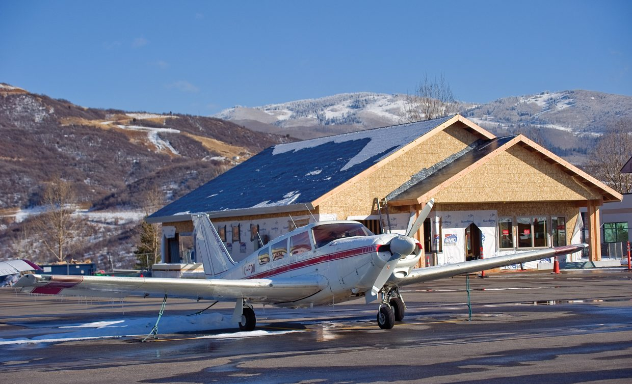 The new fixed-base operator facility at Steamboat Springs Airport is up and sealed for the winter. Crews will continue to work on the building, which is scheduled for completion in March.