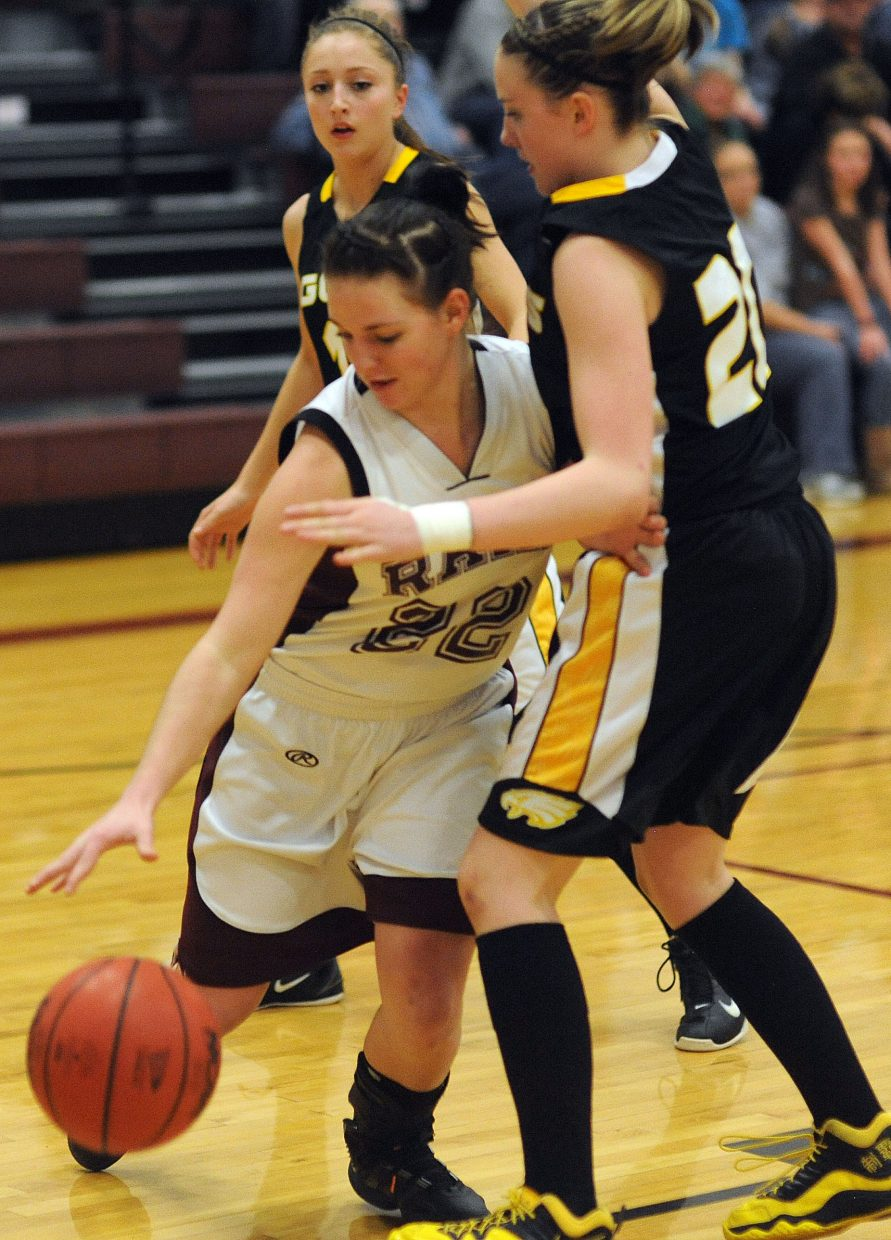 Shelby Miles tries to drive to the basket Saturday against Gilpin County.