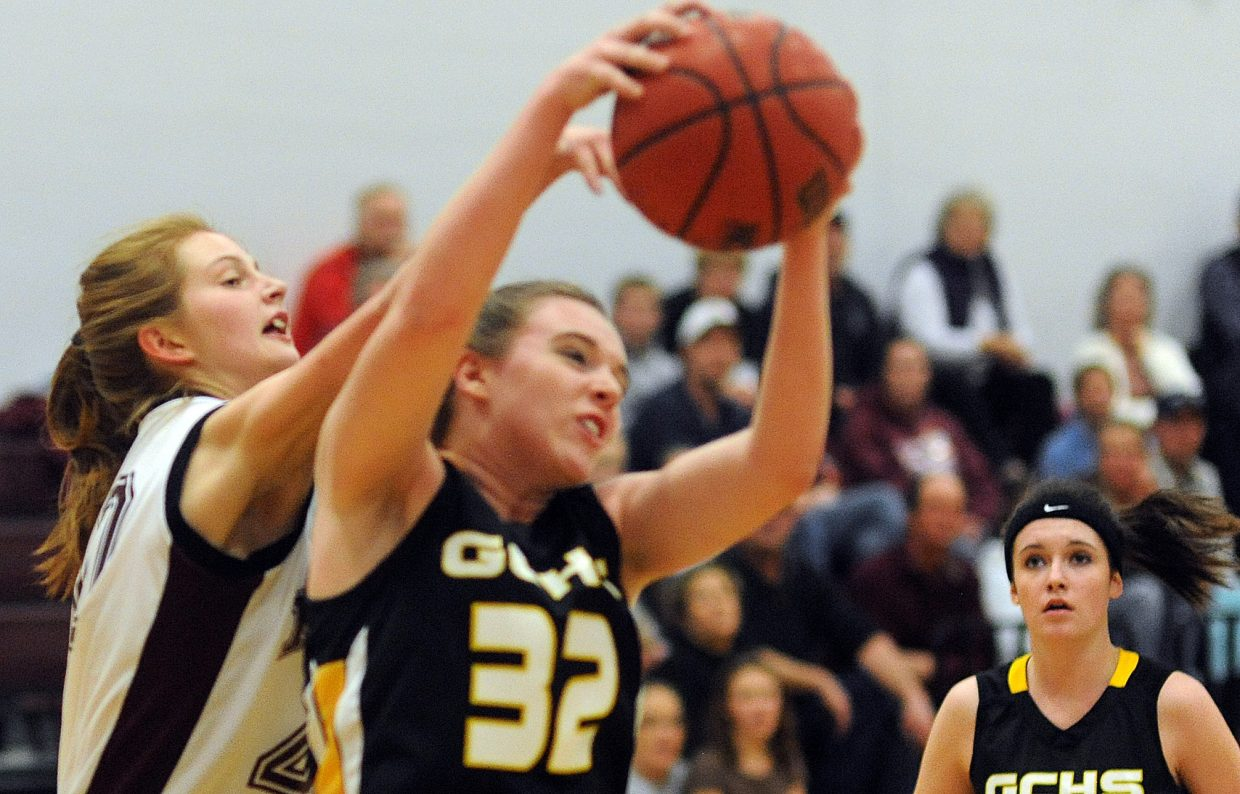 Soroco's Josie Rossi tries to knock the ball away on Saturday against Gilpin County.