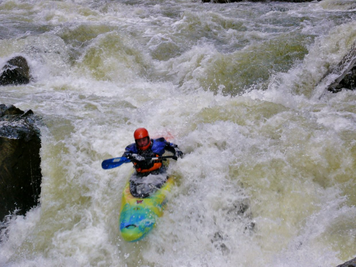 Adam Mayo charging the last drop in Tunnel Falls on the Colorado River. Submitted by: Matt Helm