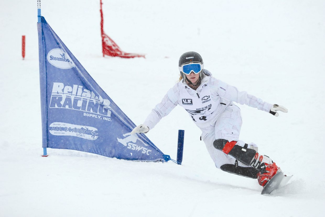 Steamboat Springs snowboarder Madeline Wiencke races down the face of Howelsen Hill on Tuesday afternoon during qualification for the Race to the Cup parallel giant slalom race.