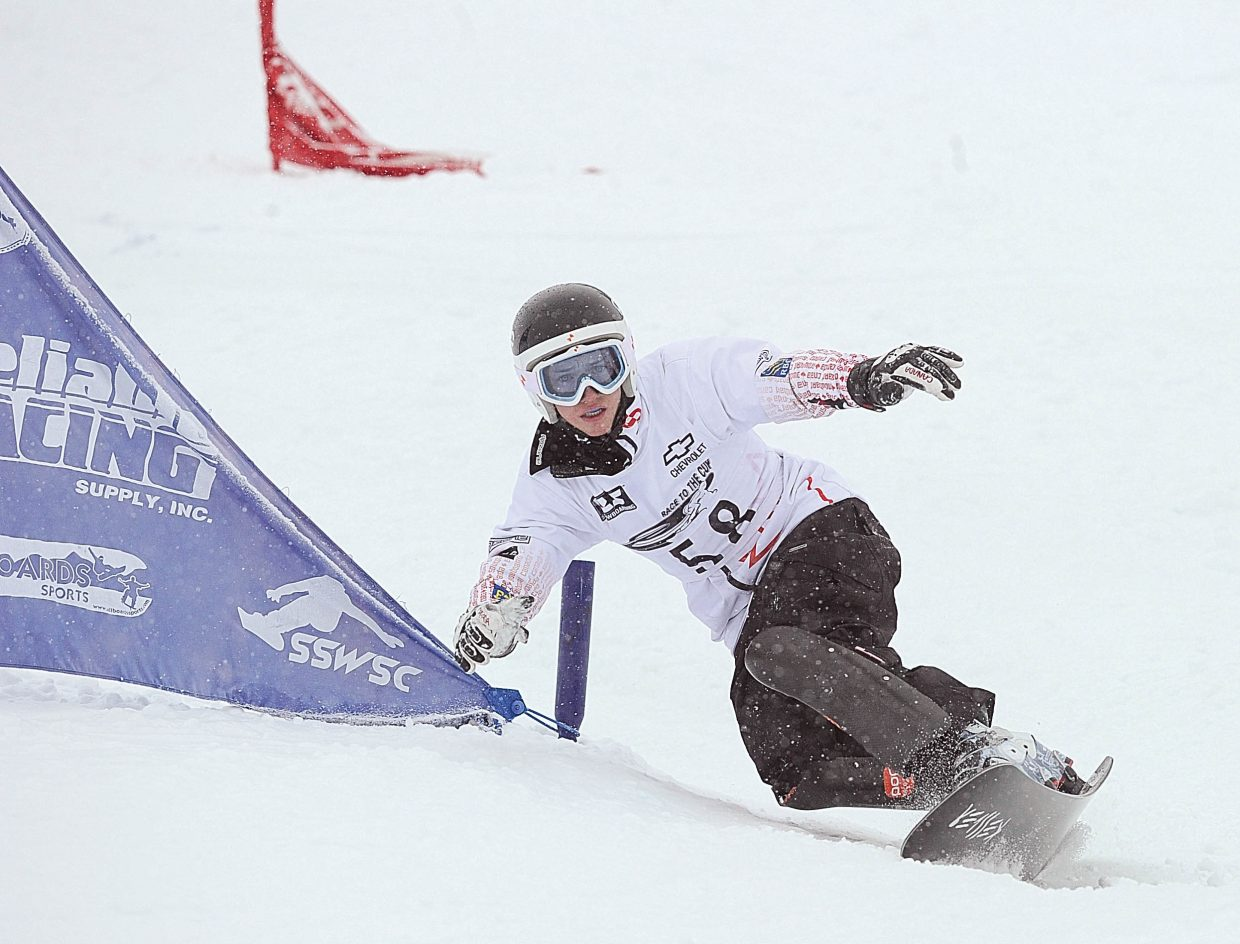 Canadian Matthew Carter races through the gates at Howelsen Hill on Tuesday afternoon during the Race to the Cup parallel slalom race. Carter won the event.