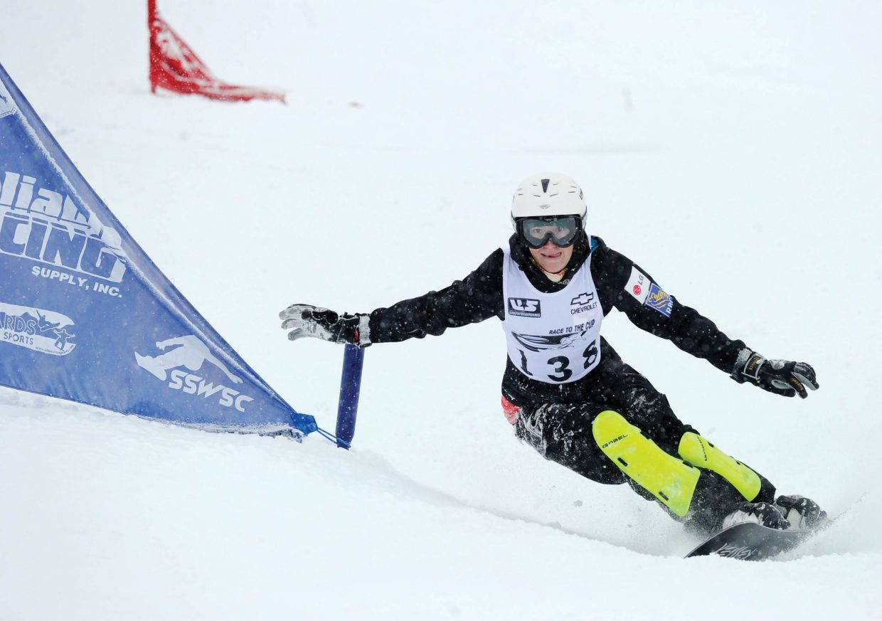 Canadian Ekaterina Zavialova races through the gates at Howelsen Hill on Tuesday afternoon during the Race to the Cup parallel slalom race. Zavialova won the event.