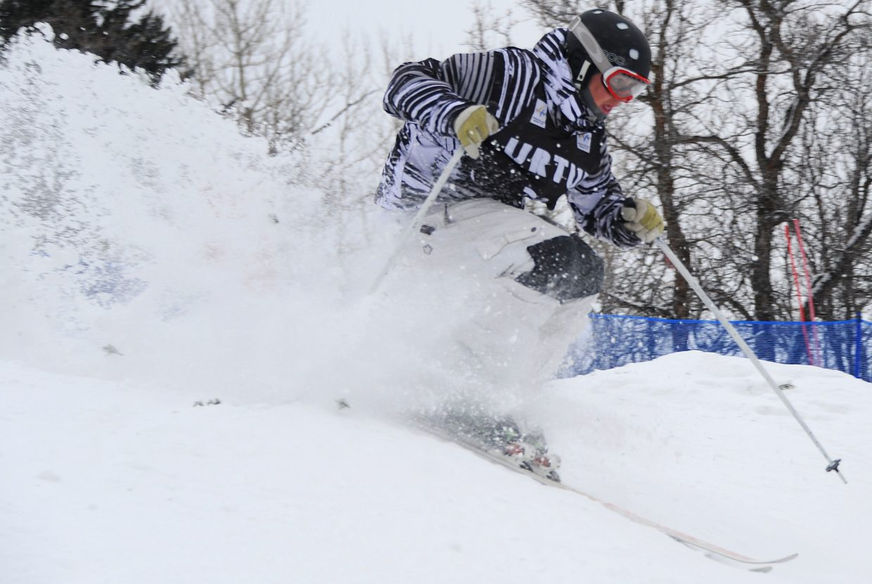 Skier Troy Murphy flies down Voo Doo run Wednesday at Steamboat Ski Area. Murphy was second in the event and one of four skiers to place high enough in events Monday and Wednesday to earn a start at next month's World Cup event in New York.