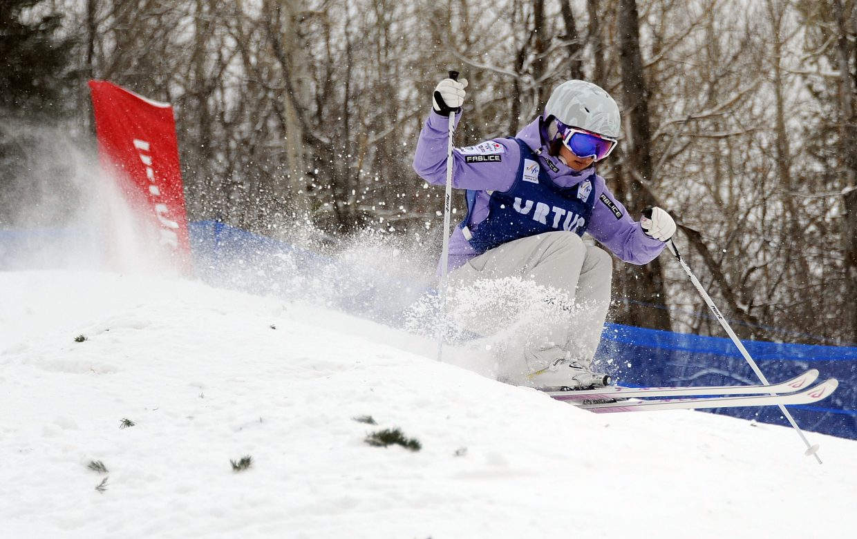 Aiko Uemura skis Wednesday in the U.S. Freestyle Ski Team selections in Steamboat Springs.