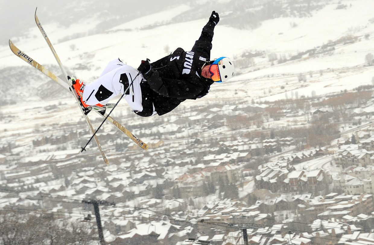 Steamboat's Michael DeGrandis spins through a trick Wednesday at Steamboat Ski Area.