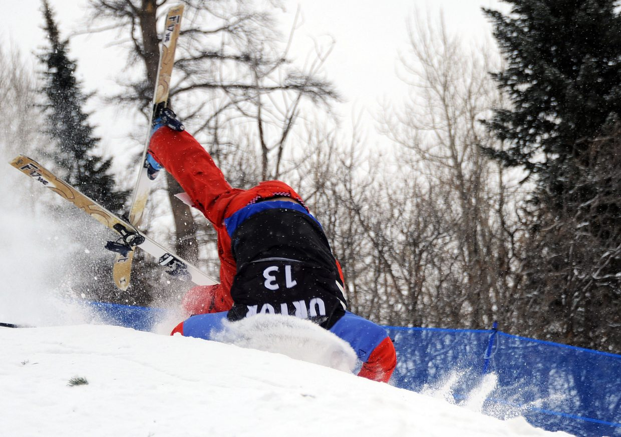 Troy Tully crashes hard Wednesday on the moguls course on Voo Doo at Steamboat Ski Area.
