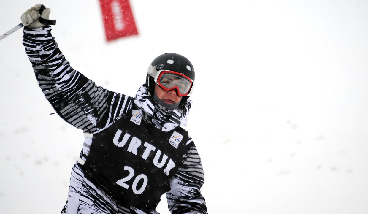 Skier Troy Murphy pumps his fist after his run at Steamboat Ski Area on Wednesday. Murphy was second in the event and placed high enough to earn a start at next month's World Cup event in New York.