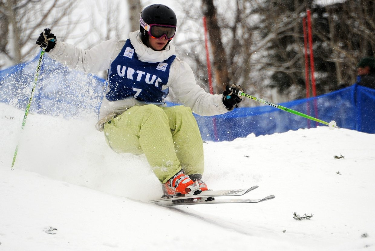 Lane Stoltzner flies down Voo Doo at Steamboat Ski Area on Wednesday.