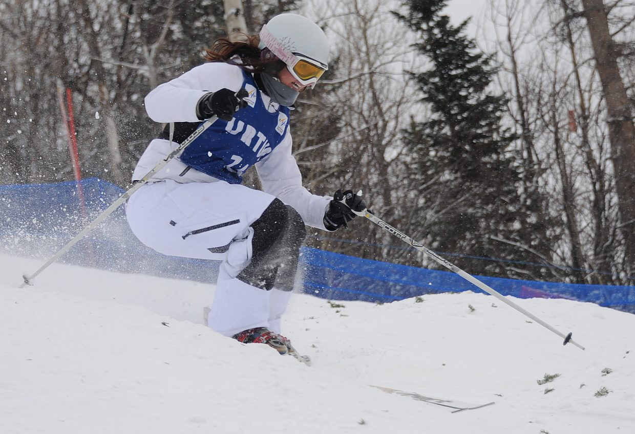 Rebecca Goldstein skis Wednesday in the U.S. Freestyle Ski Team selections in Steamboat Springs.