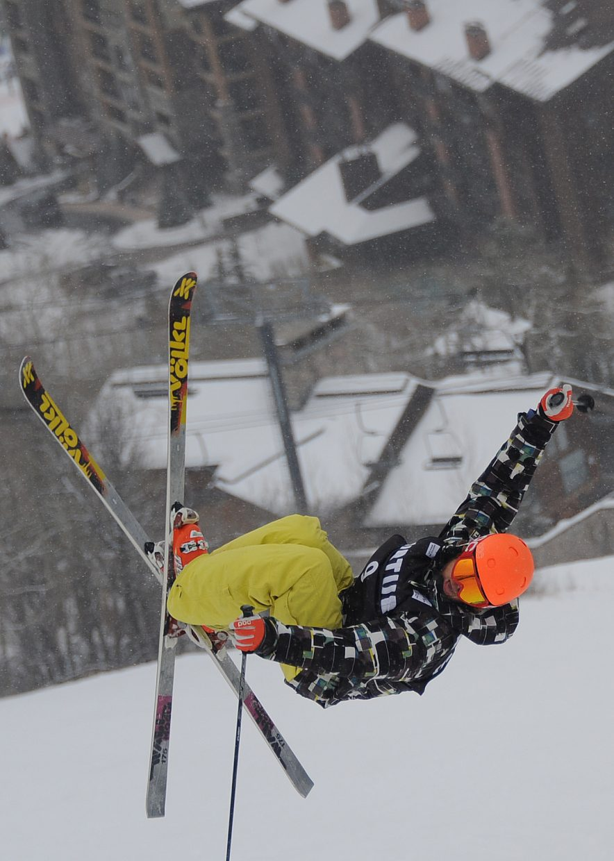 Reed Snyderman skis Wednesday in the U.S. Freestyle Ski Team selections in Steamboat Springs.