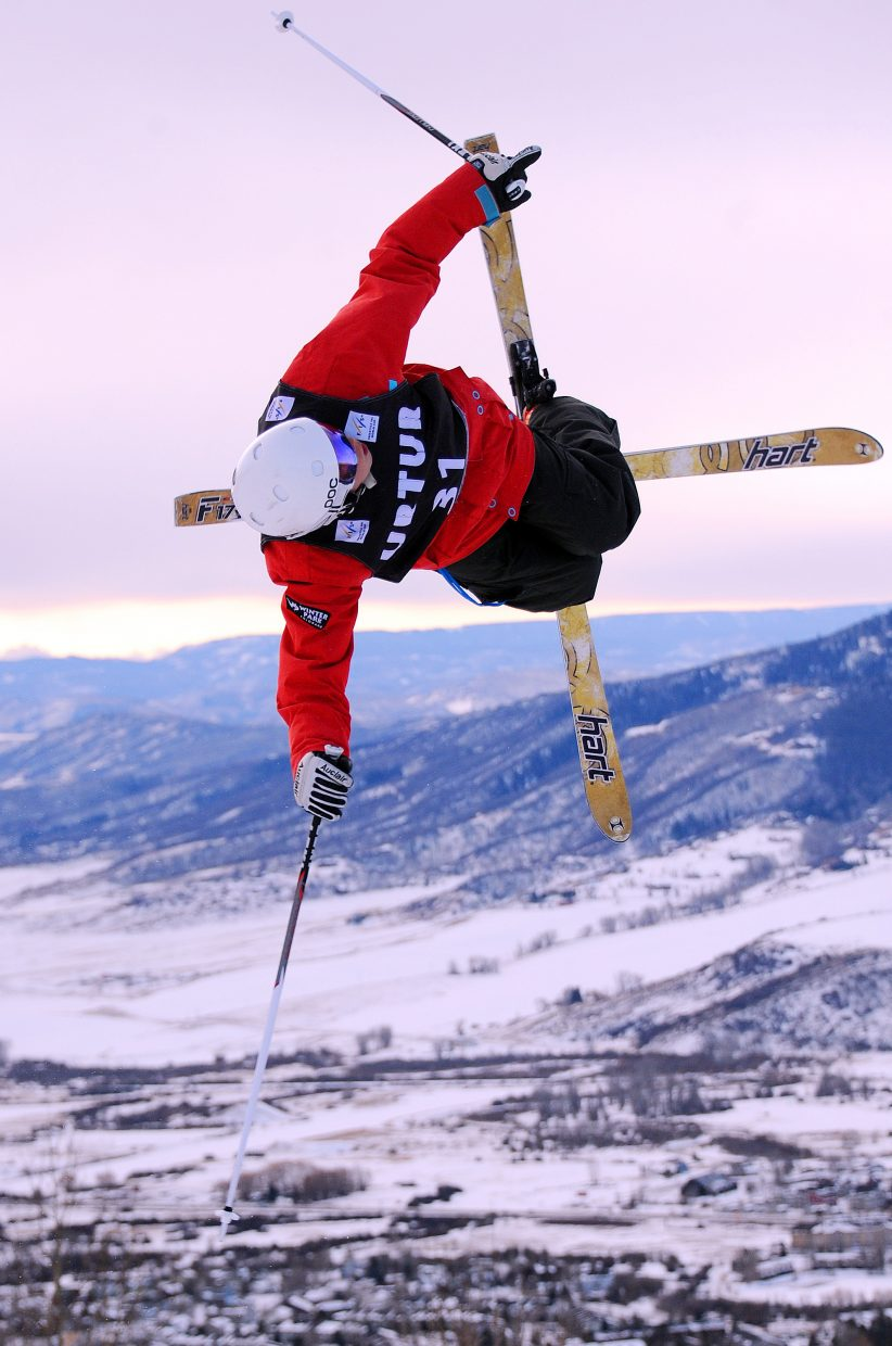 Skier Casey Andriga spins through a trick Thursday during the U.S. Freestyle Selections at Steamboat Ski Area. The event, which switched from dual moguls to single because of a weather delay, wrapped up a week of competition in Steamboat Springs.