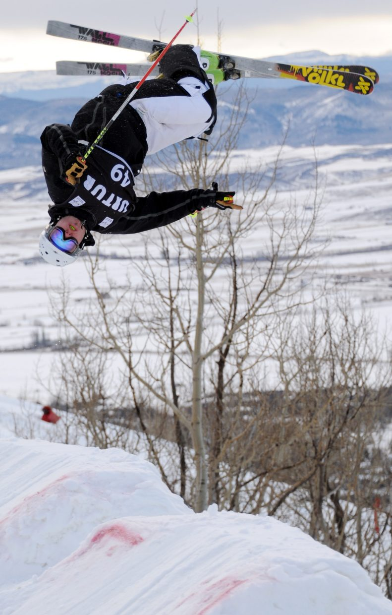 Jack Pickhardt flips off the jump Thursday during a moguls event at Steamboat Ski Area.