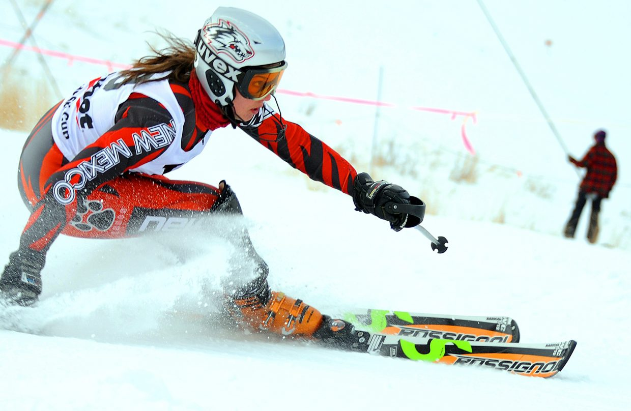 Steamboat Springs High School 2009 graduate Mary Rachel Hostetter flies down Howelsen Hill on Thursday during a slalom race. Hostetter, now skiing for University of New Mexico, won the event.