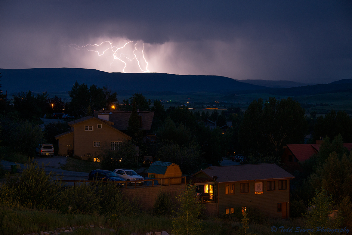 Lightning south of Steamboat on Wednesday night. Submitted by: Todd Sowers