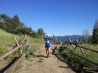 Kelly Bedell runs in the Mount Werner Classic on Saturday.