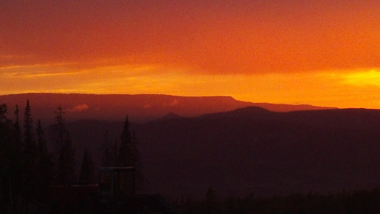 Sunset view of the Flat Tops. Submitted by: Delbert Bostock