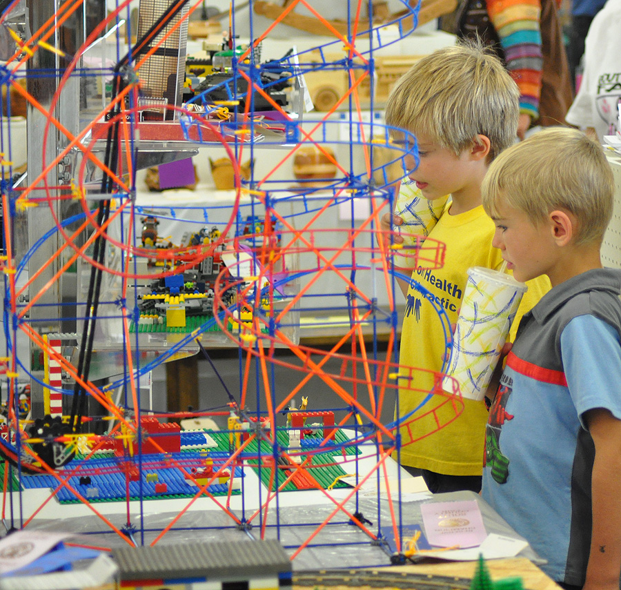 Noah Lind and Dorian Hotchkiss check out the Lego competition at the 2012 Routt County Fair. Submitted by: Wendy Lind