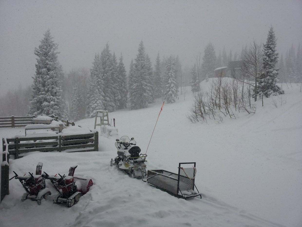 Dumping up at Rendezvous at 10:38 a.m. Tuesday. Photo submitted by Matthew Grasse