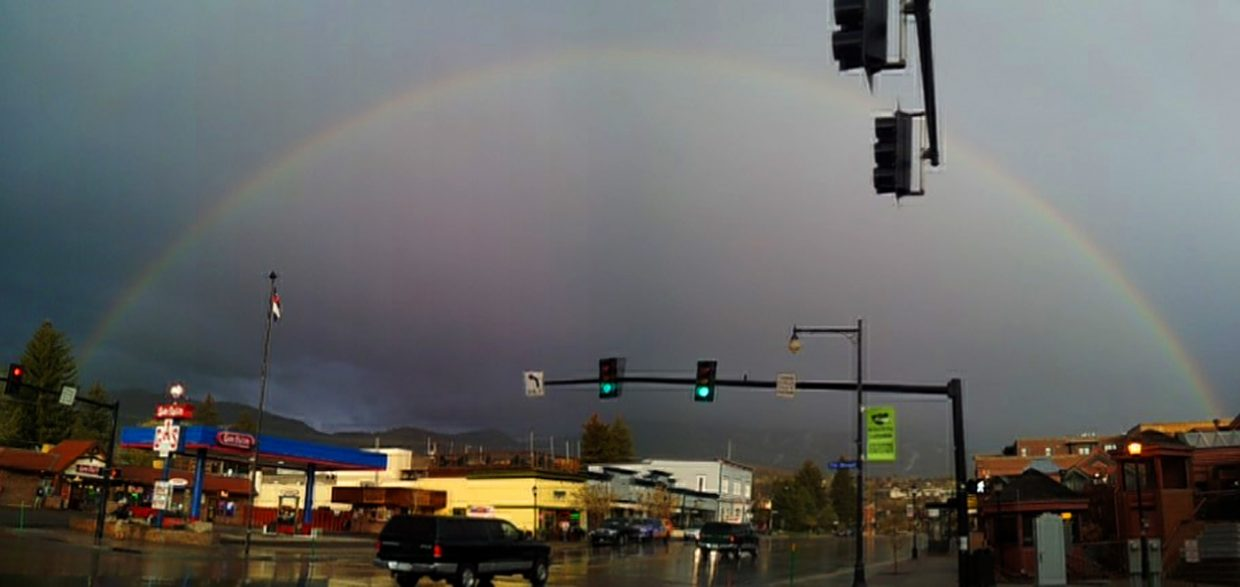 Rainbow over downtown Steamboat on May 2. Submitted by: Matthew Grasse