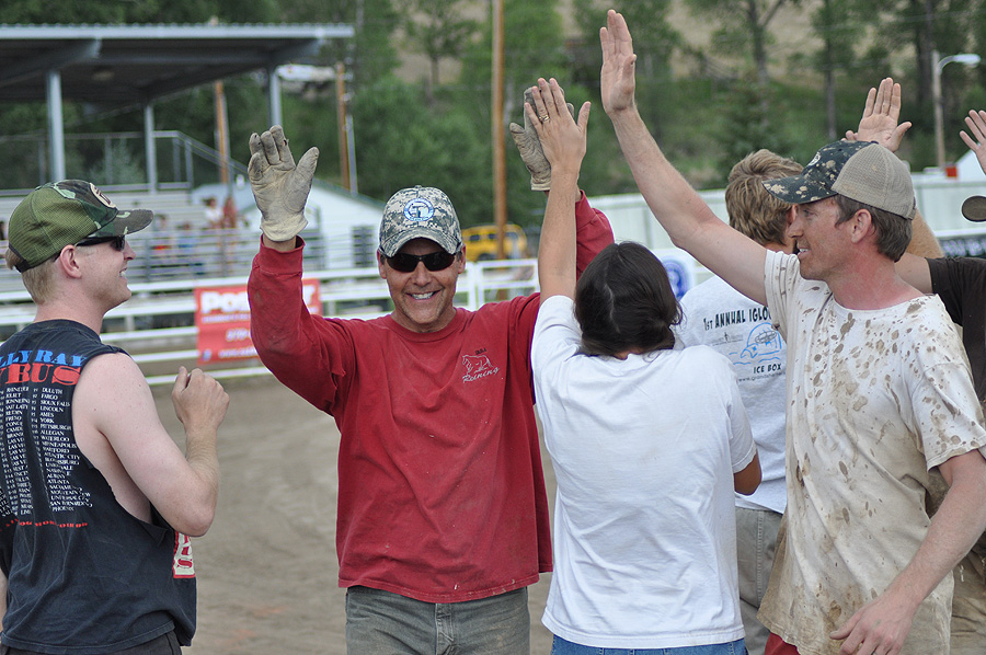 A team celebrates during a competition at the Routt County Redneck Olympics. Submitted by: Wendy Lind