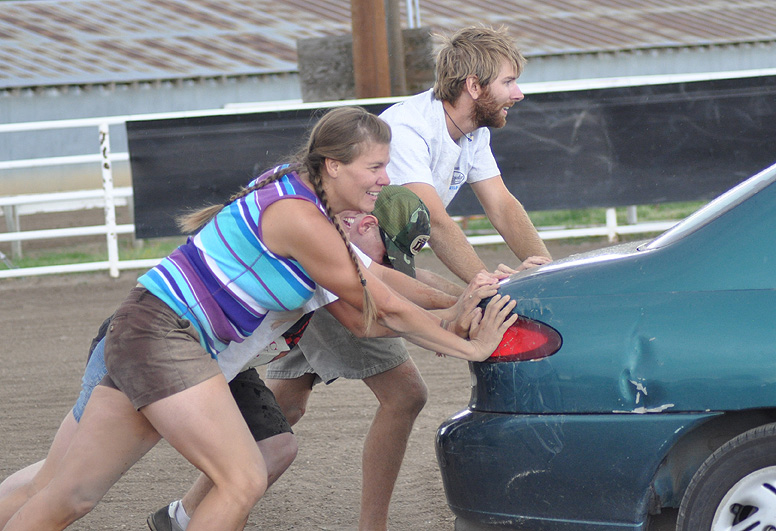 Dead car push event at the Routt County Redneck Olympics. Submitted by: Wendy Lind