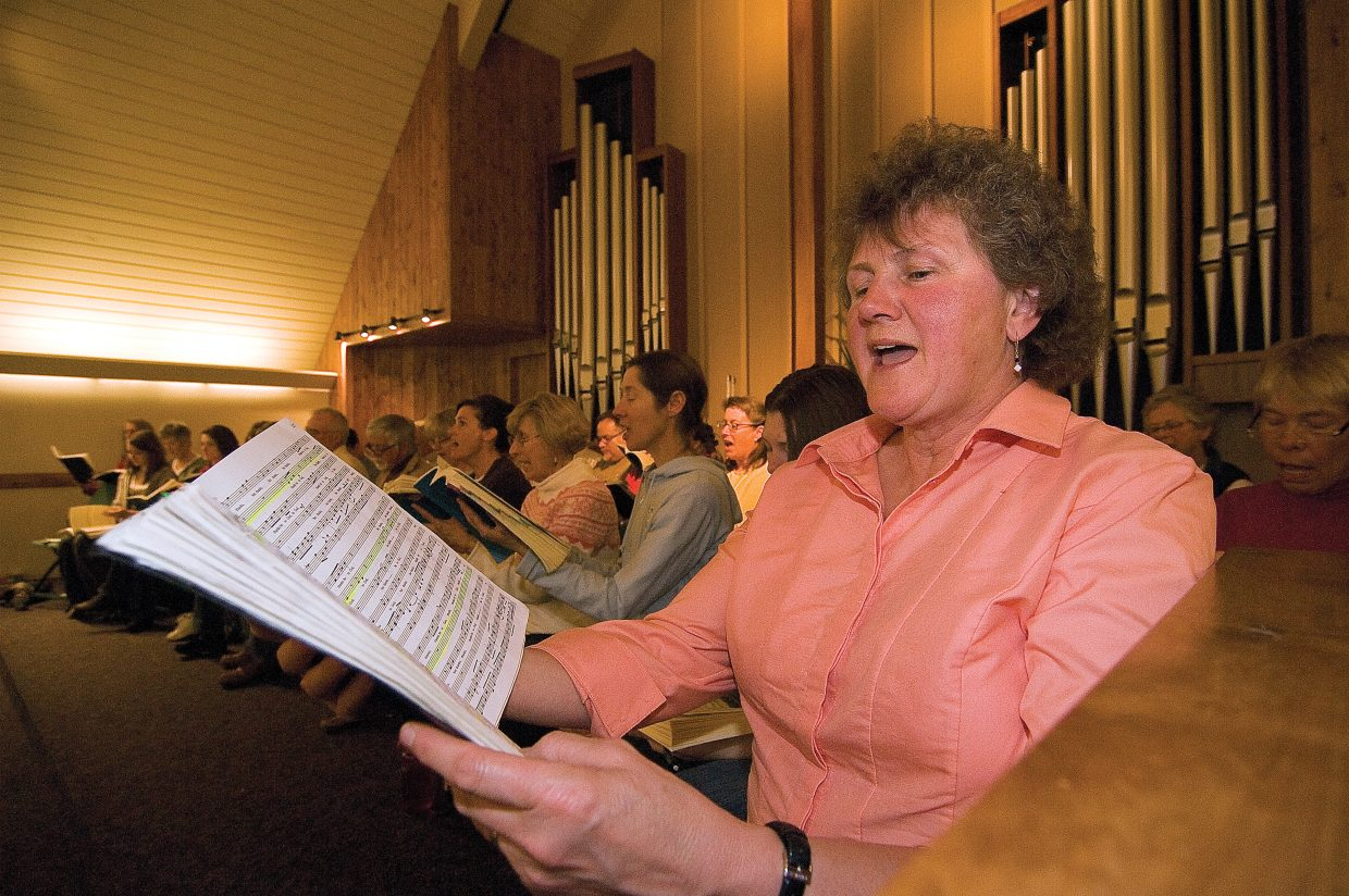"Margi Missling-Root rehearses Handel's ""Messiah"" with the Yampa Valley Singers."