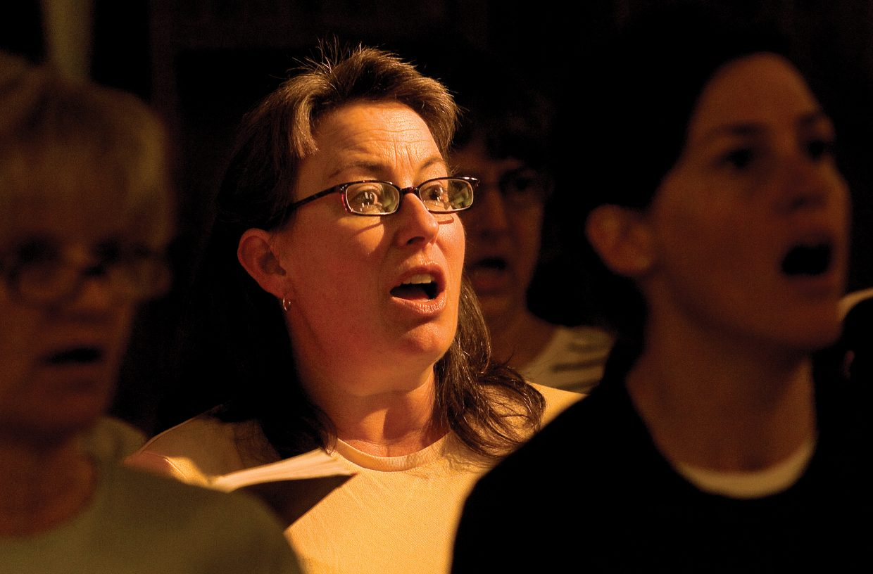 "Singer Sue Kimes rehearses a section of Handel's ""Messiah"" at the United Methodist Church earlier this week."