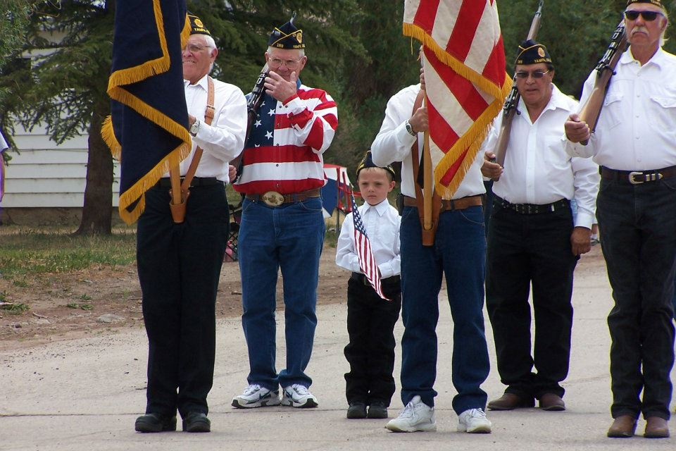 This pic was taken on the Fourth of July in Yampa. These are some of the Veterans of Yampa, and the little boy's name is Tanner Wheeler. Submitted by: Diana Wheeler