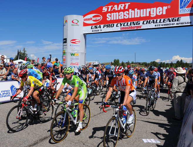 Start of the fifth stage of the USA Pro Cycling Challenge on Saturday in Steamboat Springs.
