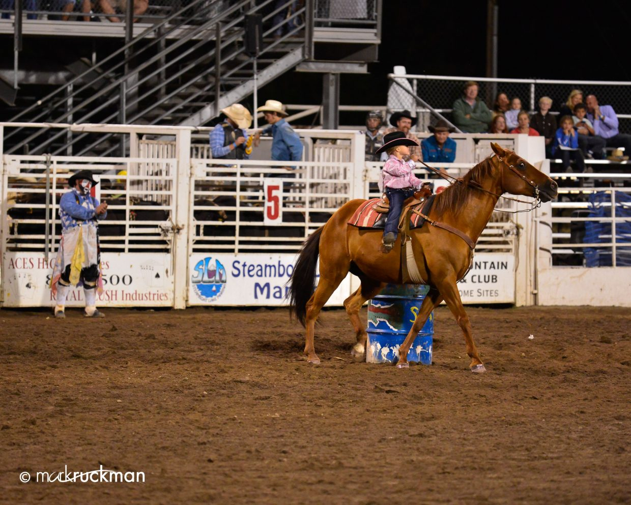 Gary Singer cheering on his 3-year-old daughter Kasey Rae Singer in barrel racing. Submitted by: Mark Ruckman