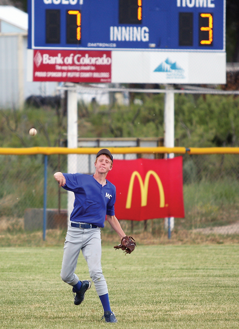 Wyatt Oberwitte throws the ball into the infield during an American Legion league game against Steamboat Springs on Tuesday at Craig Middle School.
