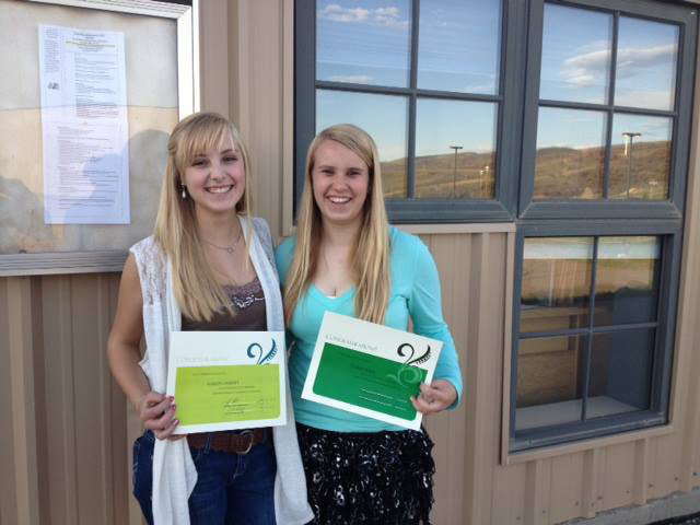 South Routt Education Endowment Fund Brochure creators high school sophomores Michelle Ondrejka Kellen Garrity and Izabel Horn received production certificates at the South Routt School Board meeting on Thursday night. Submitted by: Brita Horn