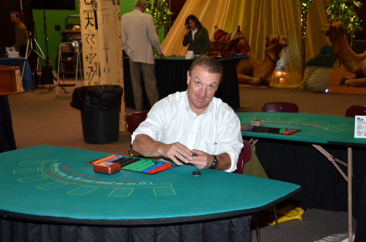 Jerry Stabile was a dealer at the casino tables for Steamboat's After Prom. Photo courtesy Shannon Lukens.