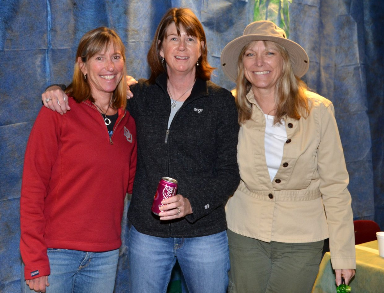 Stephanie Loomis, Phyllis Harrelson and Julie Rabbit helped with the games at Steamboat's After Prom. Photo courtesy Shannon Lukens.