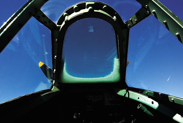 The cockpit of a vintage 1945 Supermarine aircraft at the Steamboat Springs Airport on Saturday morning during the Wild West Air Fest.