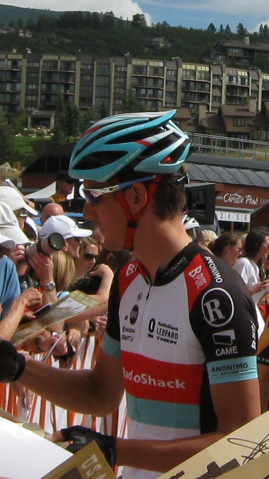 Andy Schleck signs autographs before the start of Stage 4 of the USA Pro Challenge. Submitted by: Janie Johnson-Russell