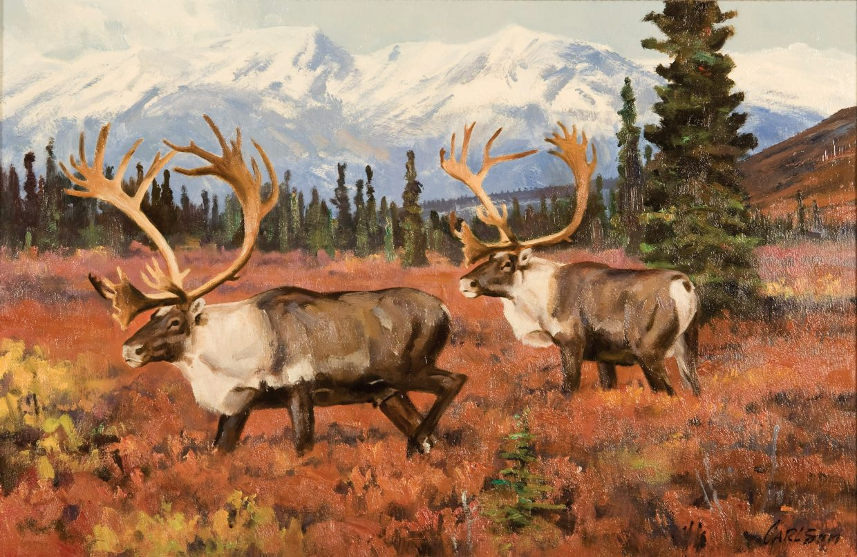 A painting of caribou by Ken Carlson.