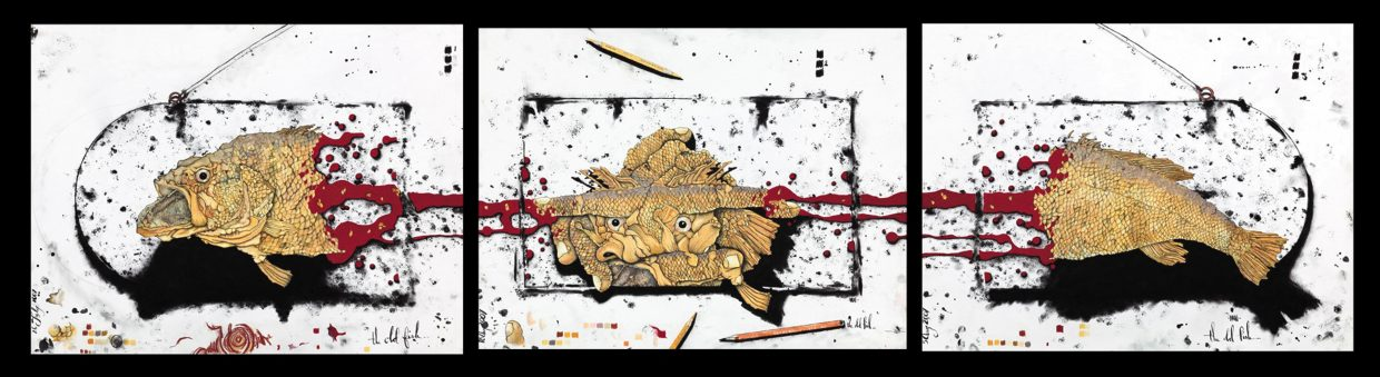 """""""The Old Fish Triptych,"""" by Brian Leach. The work is on display now at Urbane clothing store."""