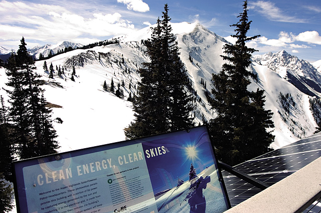 The ski patrol building on top of the Aspen Highlands ski area is powered by photovoltaic solar cells placed along the edge of the balcony. The solar panels are one of several attempts by the Aspen ski area to create a sustainable business model in the ski industry.